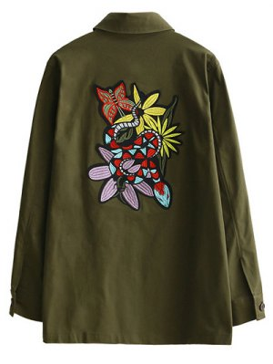 Retro Embroidered Shirt Collar Coat - Army Green