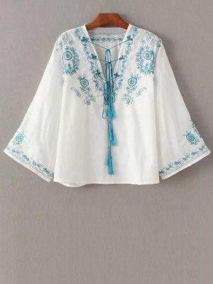 3/4 Sleeve Retro Embroidered V Neck Blouse - White