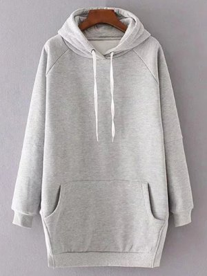 Solid Color Side Slit Drawstring Hoodie - Light Gray