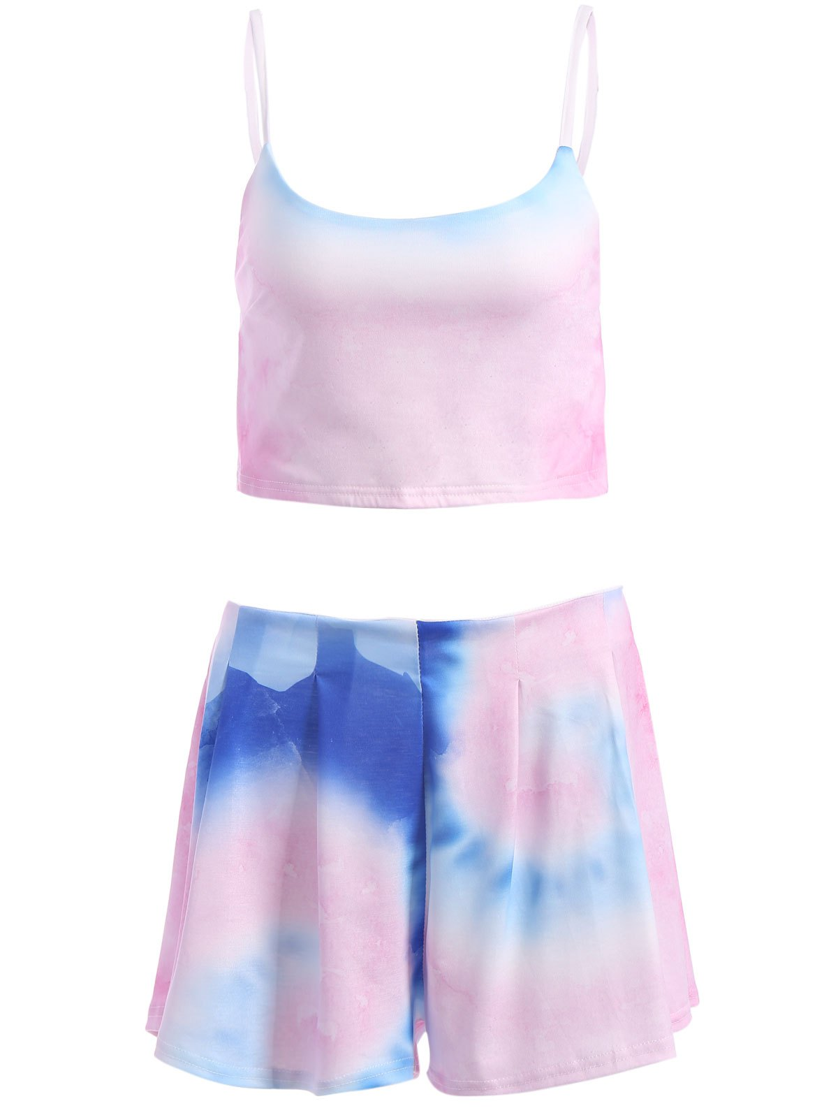 Colored Cami Crop Top and Flouncy Shorts Swimsuit