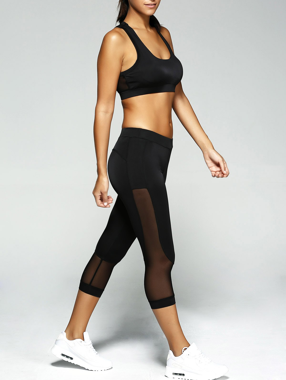 See-Through Crop Top and Leggings Sport Suit