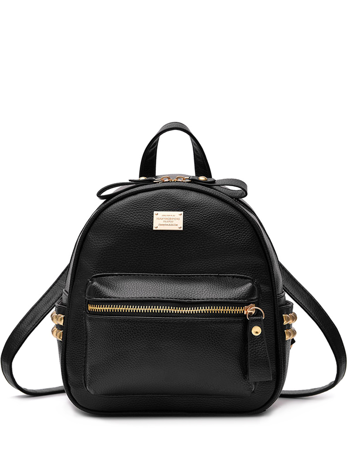 Metal Rivets PU Leather Backpack