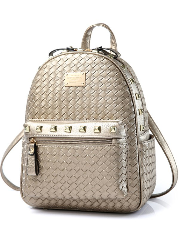 Woven Pattern Zippers Backpack