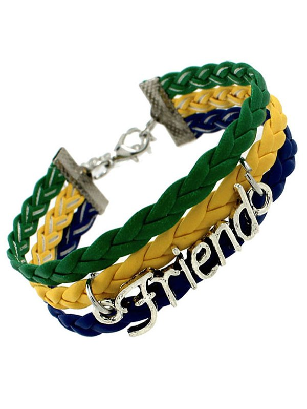 Faux Leather Flag Woven Friend BraceletAccessories<br><br><br>Color: GREEN