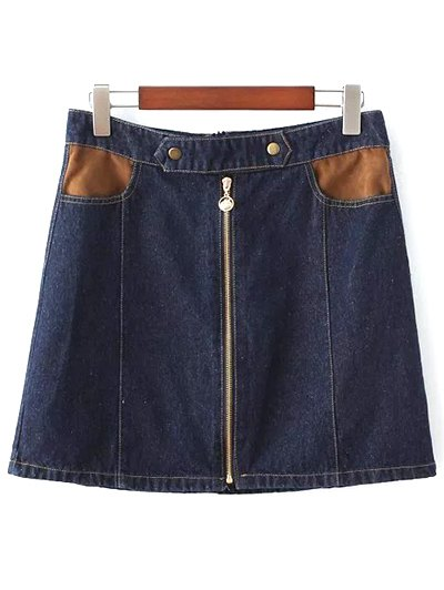 Zipper Denim Mini Skirt