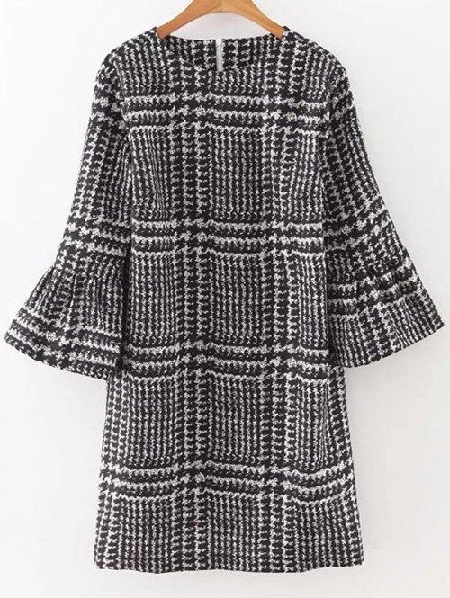 Bell Sleeve Houndstooth Dress