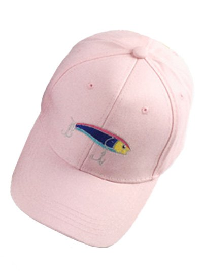 Fish and Fishhook Embroidery Baseball Hat - PINK