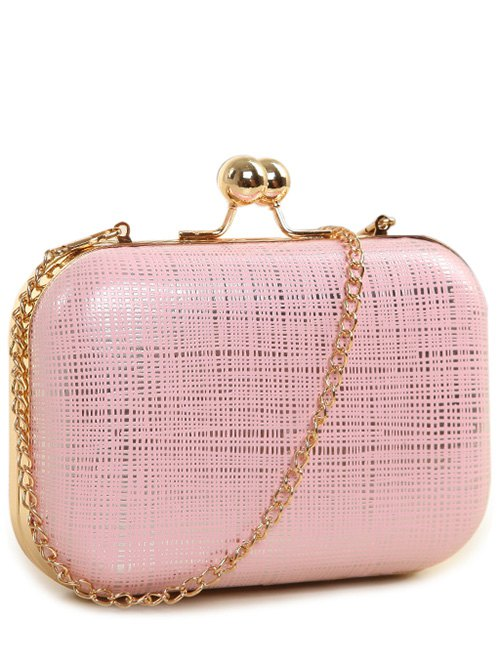 Kiss Lock  Chains Stripe Evening BagAccessories<br><br><br>Color: PINK