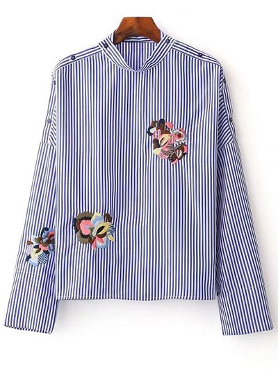 Striped Embroidered Blouse