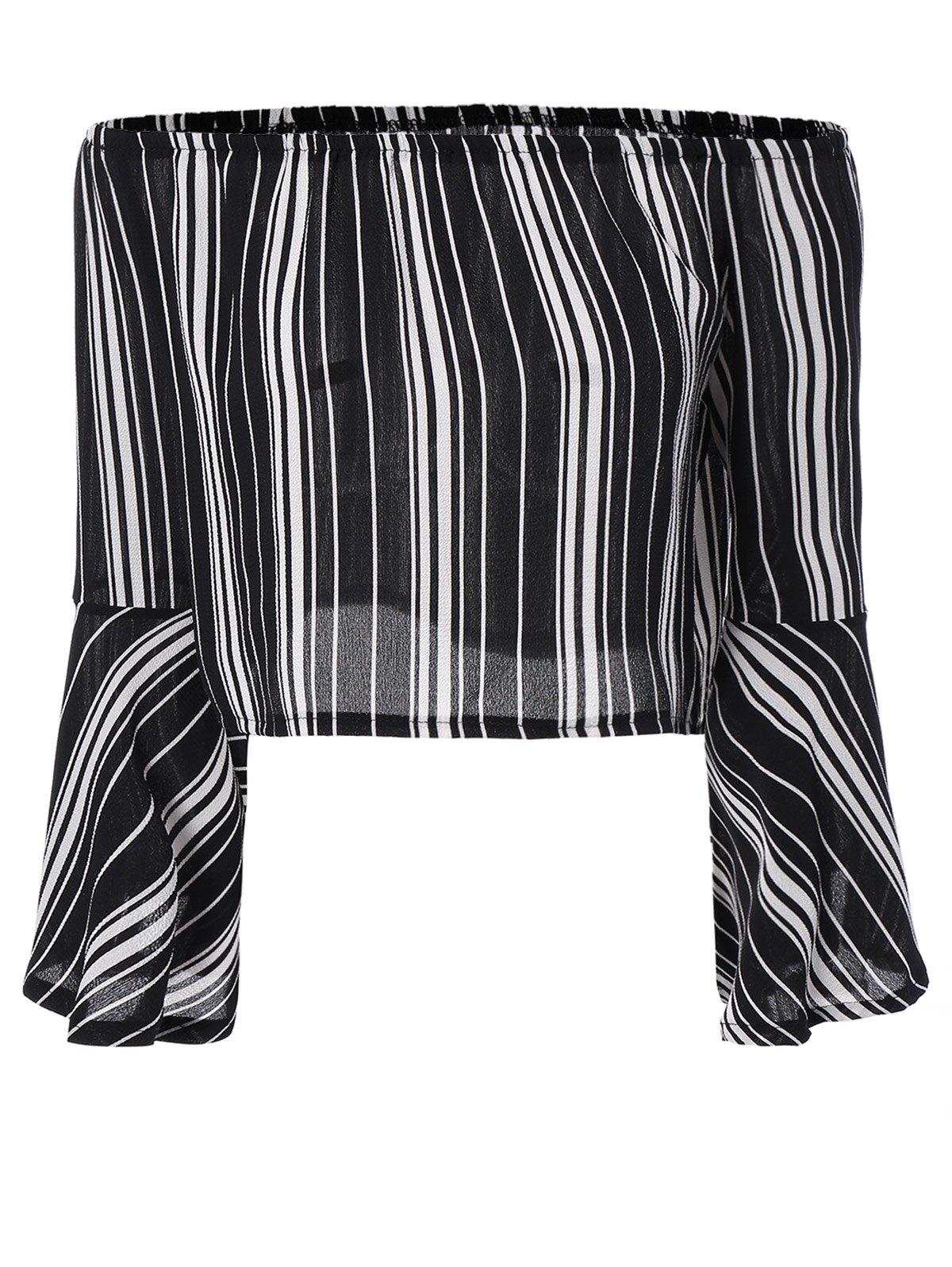 Striped Shoulder Cropped Blouse - BLACK M