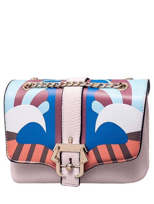 Striped Pattern Chain Crossbody Bag