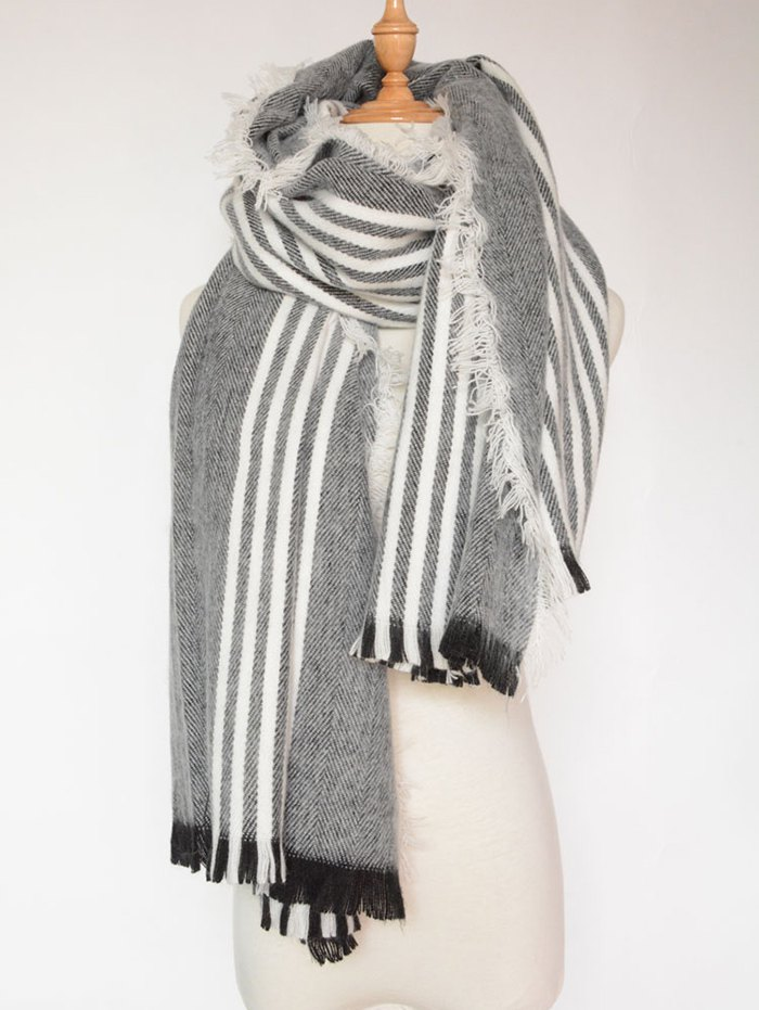 Stripe Pattern Fringed Shawl Wrap Scarf