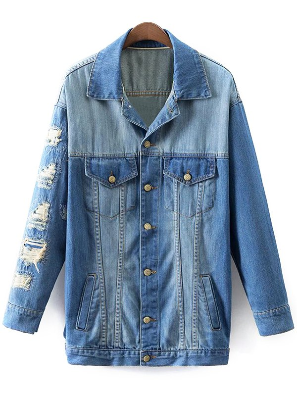 Turn-Down Collar Ripped Denim Coat