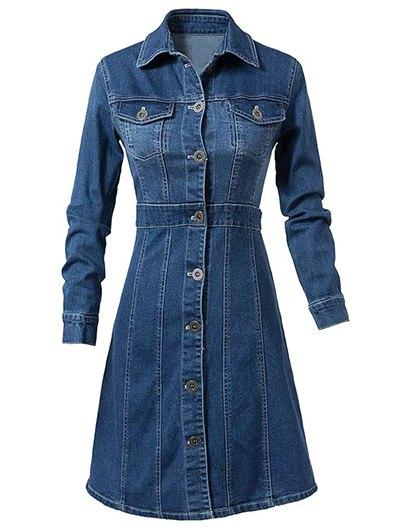 Turn-Down Collar Denim Dress