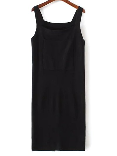 Front Pocket Back Slit Tank Sweater Dress
