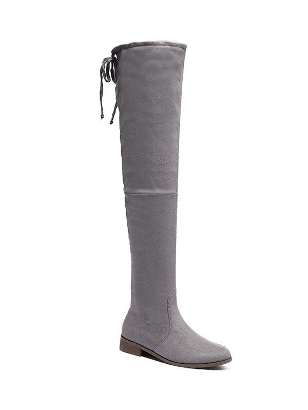 Flat Heel Zip Thing High Boots