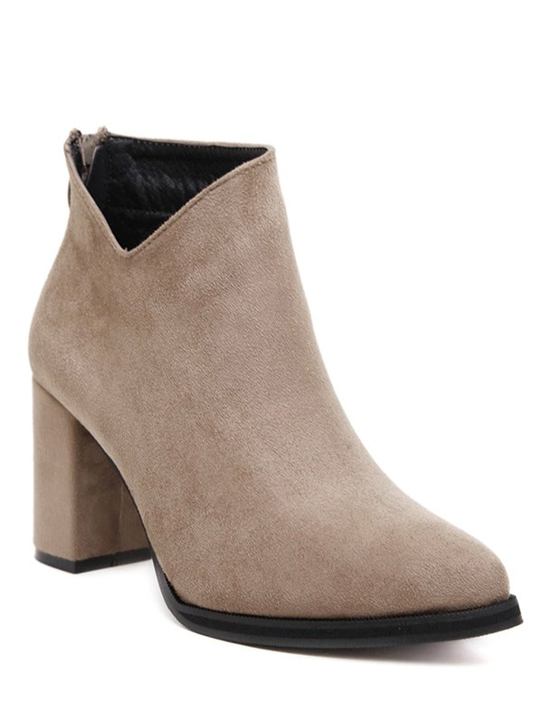Pointed Toe Flock Ankle Boots
