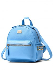 Metal Rivets Zippers PU Leather Backpack - Azure