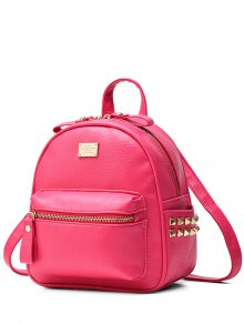 Metal Rivets Zippers PU Leather Backpack - Rose Madder
