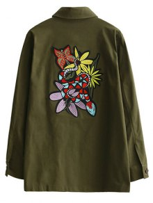 Retro Embroidered Shirt Collar Coat - Army Green L