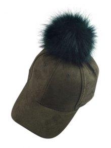 Big Fuzzy Ball Faux Suede Baseball Hat - BLACKISH GREEN