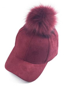 Big Fuzzy Ball Faux Suede Baseball Hat - Wine Red