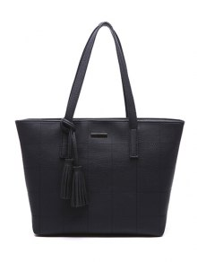 Checked Pattern Metal Tassels Shoulder Bag - Black