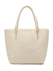 Daisy Pattern PU Leather Metal Shoulder Bag - Off-white