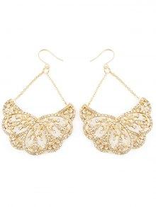 Rhinestoned Water Drop Wedding Earrings Jewelry - Golden