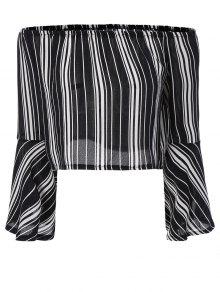 Buy Striped Shoulder Cropped Blouse - BLACK L