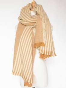 Stripe Fringed Shawl Wrap Scarf - Light Brown