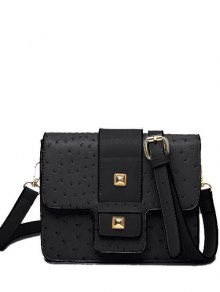Double Rivet Magnetic Closure Embossing Crossbody Bag