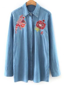 Shirt Neck Embroidered Denim Shirt