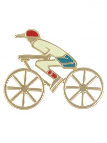 Bicycle Hollow Out Boy Shape Brooch - Golden