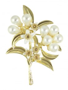 Buy Faux Pearl Leaf Floral Alloy Brooch - GOLDEN