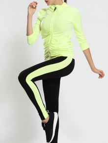Buy Zip Hooded Gym Jacket Sports Leggings - FLUORESCENT YELLOW M