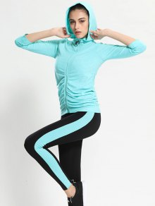 Zip Up Hooded Gym Jacket With Sports Leggings