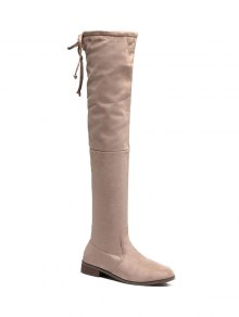 Flat Heel Flock Zipper Thing High Boots - Apricot