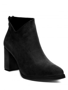 Pointed Toe Chunky Heel Flock Ankle Boots - Black