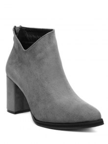 Pointed Toe Chunky Heel Flock Ankle Boots - Gray 39
