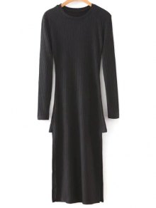 Side Slit Round Neck Long Sleeve Sweater Dress
