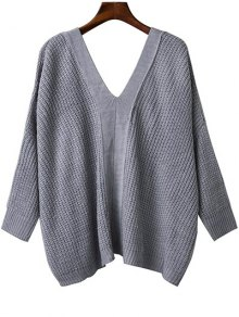 Back Lace Up Loose Fitting V Neck Sweater - Gray