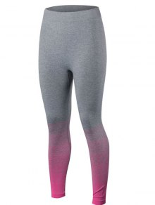 Gradient Color Sport Running Leggings - Rose Red M