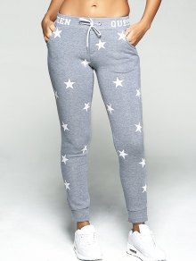 Star Print Sport Pants - Gray