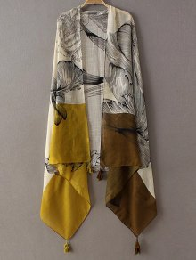 Sketch Flower Tassel Pashmina - Yellow