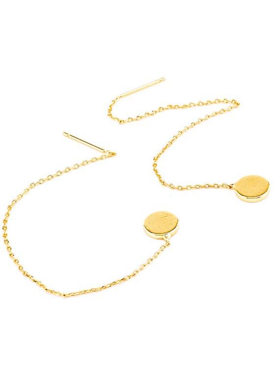Long Chain Disc Ear Threads - GOLDEN  Mobile