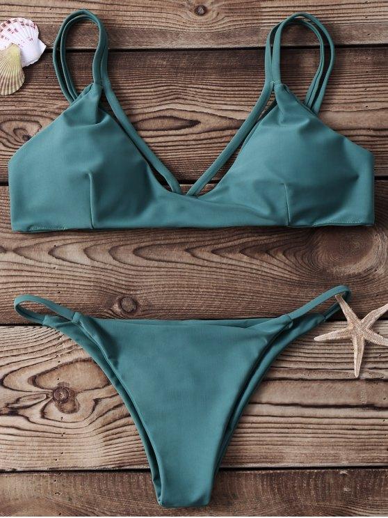 outfit High-Cut Two Piece Bikini Set - GREEN S