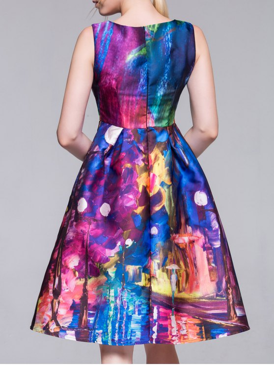 Random Print Fit and Flare Dress - COLORMIX M Mobile