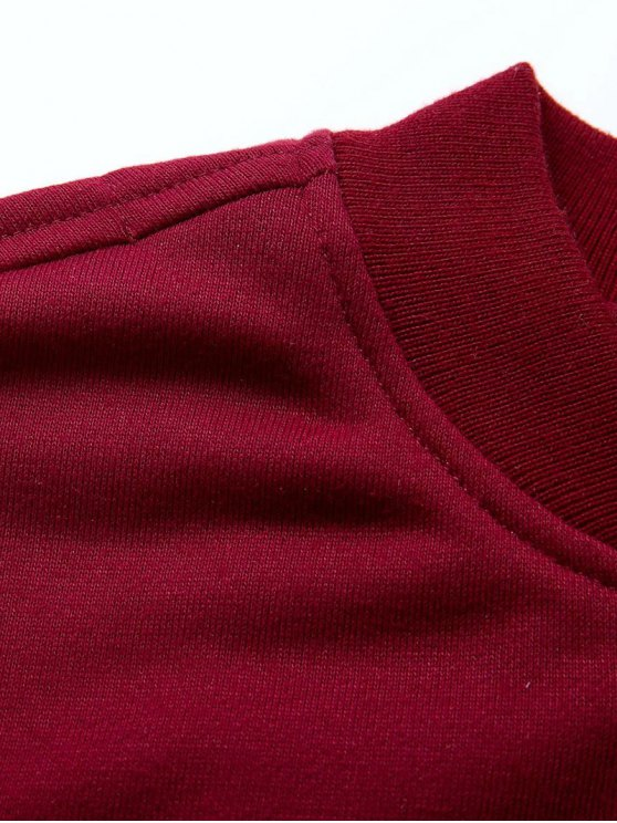 Zip Up Fitting Stand Neck Long Sleeve Jacket - WINE RED M Mobile