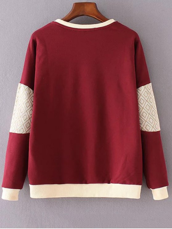 Letter Print Round Neck Long Sleeve Sweatshirt - RED M Mobile